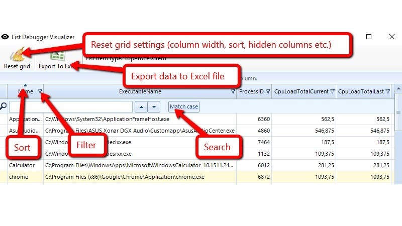 Use grid column commands to sort and filter data, and toolbar commands to export data to excel and reset grid settings.