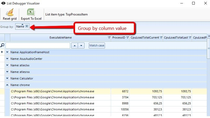 Drag a column header to group data by that column.