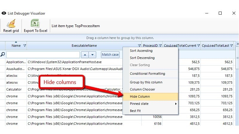 Right click on column header brings context menu with more options.